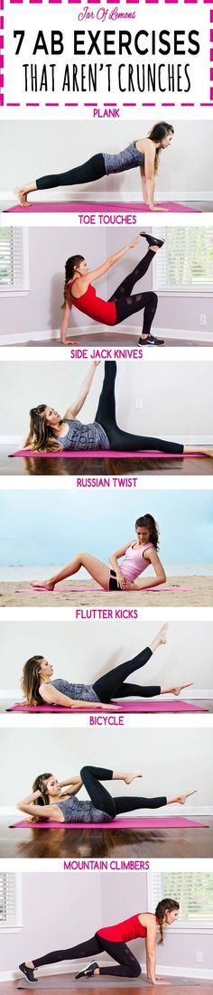 7 Ab Exercises That Aren't Crunches // As in, NO crunches! Do each move for 1 minute, twice for a full ab workout. :)