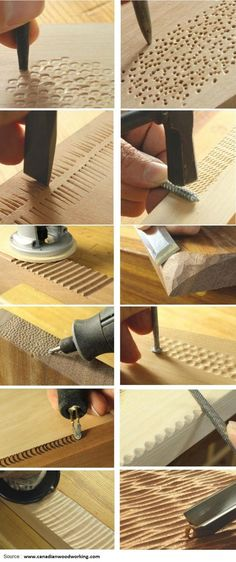 12 Ways To Add Texture With Tools You Already Have. This is for woodworking, but gets the creative ideas flowing for other projects ;) Diy Projects Plans, Woodworking Projects Diy, Teds Woodworking, Diy Wood Projects, Wood Crafts, Project Ideas, Woodworking Patterns, Woodworking Furniture, Furniture Plans