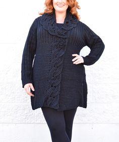 Black Chain-Knit Cardigan - Plus