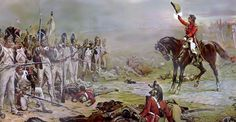 Battle of Waterloo, Hill invites the last remnants of Imperial Guard to surrender. By Robert Alexander Hillingford General Rowland Hill, Viscount Hill succeeded the Duke of Wellington as Commander-in-Chief of the British Army Napoleon Waterloo, Waterloo 1815, Battle Of Waterloo, Military Art, Military History, Military Uniforms, Military Weapons, Napoleon French, First French Empire