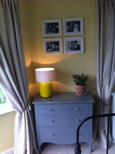 Yellow & grey mix Dresser As Nightstand, Yellow, Bedroom, Grey, Table, Furniture, Home Decor, Room, Ash