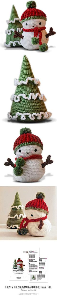 Frosty The Snowman And Christmas Tree Amigurumi Pattern