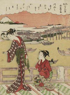 Sunset Glow at Ryôgoku Bridge (from the series Eight Fashionable Views of Edo). Woodblock print, 1768, Japan, by artist Suzuki Harunobu