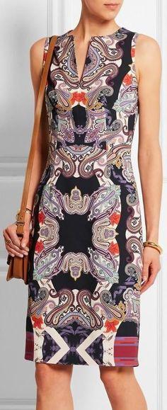 Printed Crepe Sheath Dress