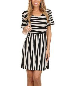 Look at this #zulilyfind! Black & White Geo A-Line Dress by BellaBerry USA #zulilyfinds