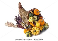 Autumn decoration filled with gourds, pumpkins and indian corn  isolated on white. - stock photo