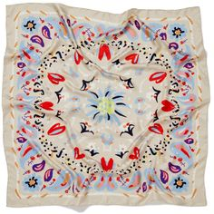 The Gitane Foulard | JANE CARR Bold brushstrokes and playfully hand-drawn florals in red, powder blue and purple create an elegant, abstract pattern on this ecru silk scarf.