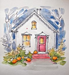 Sketchbook Wandering - art journal - cute cottage - simply adorable!