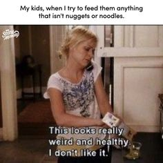 Photo by Scary Mommy on October 28, 2020. Image may contain: 1 person, meme, text that says 'My kids, when I try to feed them anything that isn't nuggets or noodles. Searury Scary Thislooks really weird and healthy. I don'tlike it.'. Funny Mom Memes, Mom Humor, Scary Mommy, Our Kids, I Tried, Noodles, Weird, October, Sayings