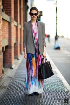 this vibrant maxi is pared down for the city with a neutral blazer and bag. definitely trying this for work this summer