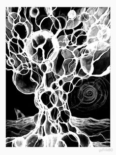 Unique Black and White Neurographic Tree by Framed Prints, Canvas Prints, Art Prints, Microscopic Photography, 8th Grade Art, Doodle Art, Art Lessons, Art Boards, Art Drawings