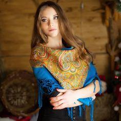 Blue Ukrainian shawl with oriental print ukrainian by NatsCozyShop