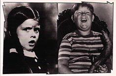 Vintage TV Classic Addams Family Postcard:  Wednesday Addams [Lisa Loring] and Pugsley Addams [Ken Weatherwax]