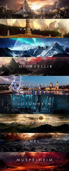 Asgard Vanaheim Alfheim Nidavellir Midgard Jotunheim Svartalfheim Hel Muspelheim