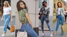 С чем носить модные джинсы Мом: фото уличных модниц
