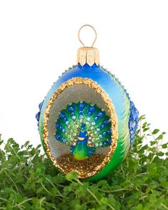 Peek Egg Peacock Ornament by Patricia Breen at Neiman Marcus.