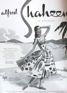 Shaheen ocean print dress 50s era sundress fish novelty print ad full skirt dress
