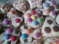 My homemade biscuits decorated with chocolate and smarties :)