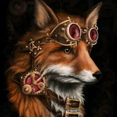 The clever fox seeing the world through rose-colored glasses?  Beautiful print  via Sonya Burwell
