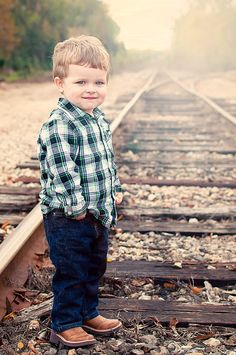 How sweet! Little boy photography, railroad tracks, sunset.
