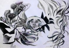 Massimiliano Fabbri / Nido / 2013, collage, grafite, carboncino, china, penna biro e bomboletta spray su carta, cm 50x70