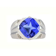 White Gold Men's Large Antique Cushion Cut Tanzanite Diamond Ring Available Exclusively at Gemologica.com