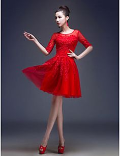 Formal Evening Dress A-line/Princess Jewel Knee-length Tulle... – USD $ 69.99