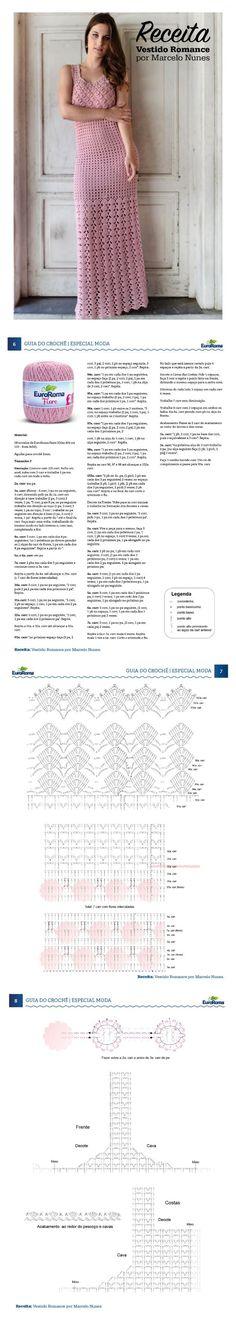 Guia do do Crochê - Moda Especial. Vestido Romance, por Marcelo Nunes - Fio EuroRoma Fiore 500m 8/4, na cor 510 (Rosa Bebê). Crochet Shirt, Crochet Baby, Knit Crochet, Love Crochet, Dress Patterns, Crochet Patterns, Crochet Wedding, Knit Dishcloth, Crochet Magazine