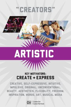 "Holland: ""Creators"" are artistic, expressive and unconventional. ""Creators"" like to find original and new ways to approach things. Career Assessment, Career Counseling, School Counselor, Business Education, Business Leaders, Career Information, Career Search, College Notes, Career Exploration"