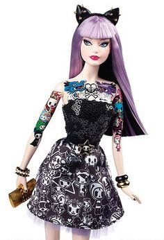 Tattoos and lilac hair...Barbie as you've never seen her courtesy of a limited edition collaboration with Tokidoki <3