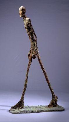 A sculpture by Alberto Giacometti Walking man I Alberto Giacometti, Giovanni Giacometti, Art Sculpture, Modern Sculpture, Bronze Sculpture, Human Sculpture, Modern Art, Contemporary Art, Antoine Bourdelle