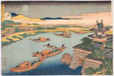 "Items similar to Japanese Ukiyo-e Woodblock print, Katsushika Hokusai, ""Moonlight on the Yodo River, from the series Snow, Moon and Flowers"" on Etsy Japanese Prints, Japanese Art, Monte Fuji, Katsushika Hokusai, Memorial Museum, Japanese Painting, Woodblock Print, Art Reproductions, Traditional Art"