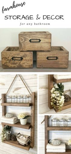 Farmhouse Bathroom Storage + Decor {on etsy}!!! Love these beautiful pieces by Country Cottage Decor ... gorgeous wood stains on every one! And who doesn't need a #ropeshelf in their life?! I definitely do. Perfect for any style bathroom, really. Unique way for #bathroomorganization #farmhousebathroom #bathroomideas #bathroomdiy #diydecor #shelfideas #bathroomstorage #storagedecor #storagediy #storageideas