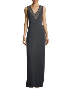 Sleeveless Embellished Neckline Gown, Elephant