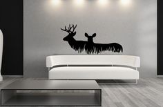 Wall Decal Deer in Grass Style A Vinyl Wall Decal 22326