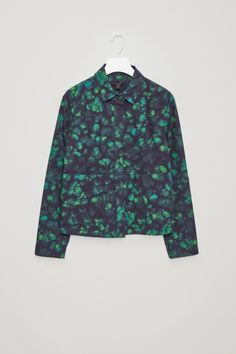 COS image 2 of Printed shirt with pockets in Grass Green