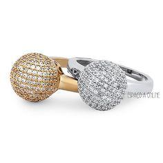 Anel Esferas Cravejadas Com Micro Zirconias Folheado Ouro / Rodio (L-1663) acessorios fashion jewelry aneis rings joias