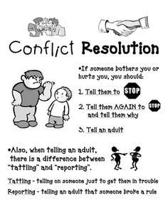 Conflict Resolution Poster explains difference btwn tattling and reporting Elementary School Counseling, School Social Work, School Counselor, Elementary Schools, Conflict Management, Behaviour Management, Classroom Management, Coping Skills, Social Skills