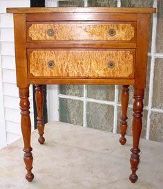 antique cherry u0026 birdu0027s eye maple 2 drawer work stand sold for