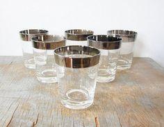 mad men glasses / 60s silver rimmed rocks by RustBeltThreads
