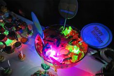 """HEY party planners and snack table organizers - stick some LED light up ice cubes under gummy candy to make your party guests go """"OOOooo! Aaaahhh."""" Here they are - FDA approved plastic safe for food: http://www.flashingblinkylights.com/light-up-products/lighted-ice-cubes.html"""