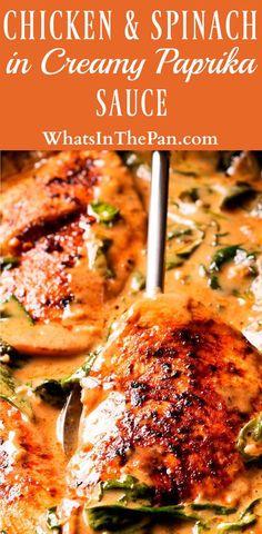 Chicken and Spinach in Creamy Paprika Sauce #chicken #dinner