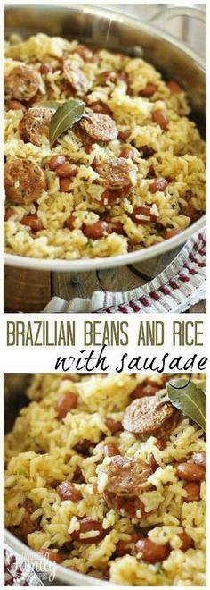 This Brazilian Beans and Rice dish could not be easier or more delicious. It it only takes a few simple ingredients and less than 30 minutes! via @favfamilyrecipz