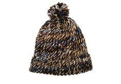 Beanie hat with pom pom, wedgwood blue, browns, sandy, item TRV7