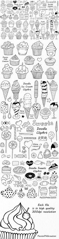 Big Set of Doodle Sweets clipart Easy Doodle Art, Doodle Art Designs, Doodle Art Drawing, Cool Art Drawings, Easy Drawings, Doodle Wall, Bullet Journal Art, Bullet Journal Ideas Pages, Bullet Journal Inspiration