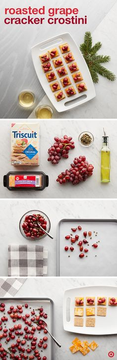 Simple, sweet, savory and unique. Stand out at your holiday party with these cute and crunchy appetizers. Toss grapes, capers and olive oil together and bake the medley for 20 minutes. Top your Triscuit crackers with cheese and your grape mixture, and don't hold back on the juices. Serve immediately.