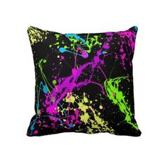 Colorful neon abstract paint splatters in hot pink, fluorescent green and yellow… Black Throws, Black Throw Pillows, Teen Room Decor, Bedroom Decor, Bedroom Ideas, Emo Bedroom, Dream Bedroom, Bedrooms, Neon Room