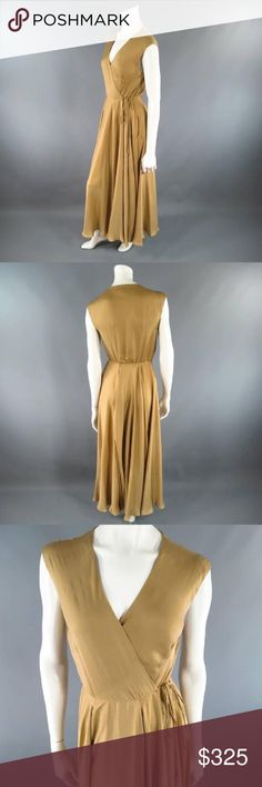 Ralph Lauren Gold Silk-Lined Satin Wrap Dress Beautiful, flowy Ralph Lauren dress for holiday galas / mother of the bride/ bridesmaid / weddings in perfect condition. Size 10, but the style is a wrap dress so easily adjustable and a designer size 10. I am a size 0 and this works on me as well! Just more of a loose fit. Ralph Lauren Dresses Maxi