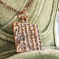Copper Necklace Square Pendant Chinese Characters Mens Unisex Handmade | ShanghaiTai - Jewelry on ArtFire
