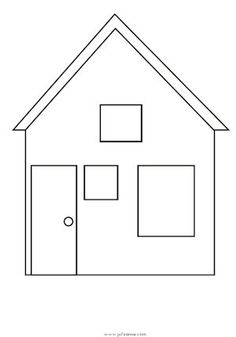 Easy House Coloring Page House Colouring Pages, Coloring Sheets, Coloring Pages, All About Me Preschool, Math For Kids, Quiet Book Templates, House Template, Ceramic Houses, Paper Houses